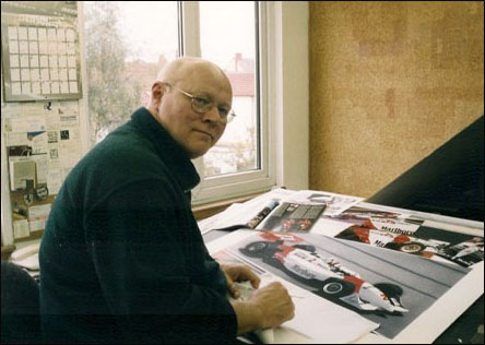 Gavin working in his studio at home in Leeds